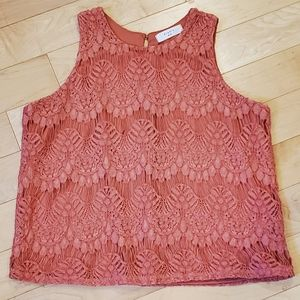 👕ELODIE - Coral Lace Tank